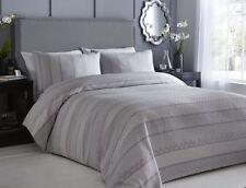 Jacquard texturé géométrique rayures gris blanc Housse de couette double