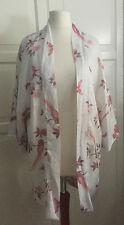 H&M Jacke Cardigan fürs Frühjahr / Sommer weiß mit bunten Blüten Vögel Größe XS
