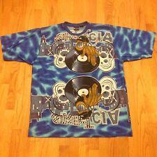 Vtg 90s All Over DJ EDM Print L Hip Hop Turn Table T Shirt Raver Graffiti Trippy