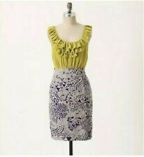 928b595316e9 Anthropologie Maeve Seaside Fields Dress Silk 4 Green Purple Ruffle  Sleeveless