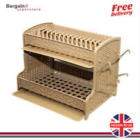 2 Tier Large Rattan Modern Dish Drainer Cutlery Holder Rattan Plastic Kitchen