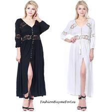 Hippie Boho Bohemian Gypsy Victorian Eyelet Crochet Maxi Peasant Dress S M L XL