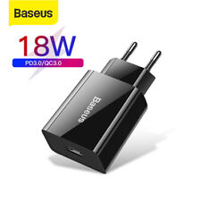 Baseus 18W USB Type C QC 3.0 Fast Wall Charger Adapter EU Plug For iPhone Google