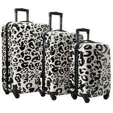 Kensie New BEIGE LEOPARD Luggage 3 PC  SET NOT Expandable Hard Side Spinner