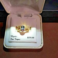 MYSTIC FIRE TOPAZ & 40 WHITE SAPPHIRE 14K GOLD OVER STERLING SILVER RING SIZE 7