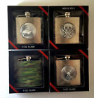 set of 4  metal 5 oz flask gift set Bass Skull Green Camo Eagle All 4 New in Box
