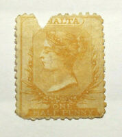 1865 Malta Postage Stamp 1/2p, SC# 5. Perf. 12.5, Used, Hinged, Torn, Cat. $110