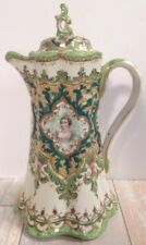 Antique Nippon Hand Painted Chocolate Pot Ornate Green/Gold  Queen Elizabeth I