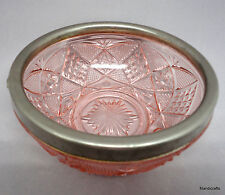 Pink Glass Nut Candy Bowl Diamond Star Design 1970s Aluminum Rim 5in no handle