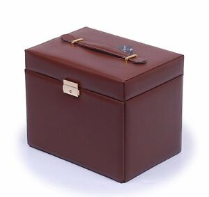 Brown LEATHER JEWELRY BOX / CASE / STORAGE / ORGANIZER WITH TRAVEL CASE AND LOCK