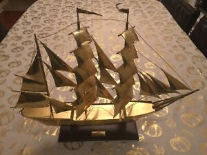 Vintage Brass Model Sailing Ship Sagres Portugal 1937 On Wooden Stand 16'' Tall