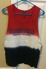 Womens Black Hills South Dakota Tank  Top Red White Blue Nwotgs Size Med