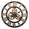 LARGE TRADITIONAL VINTAGE STYLE IRON WALL CLOCK ROMAN NUMERALS ROUND OPEN FACE