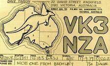 1979 VINTAGE Kangaroo Gold QSL HAM RADIO CARD VK3NZA 33 David St, Knoxfield, VIC