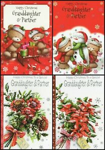 GRANDDAUGHTER & PARTNER CHRISTMAS GREETING CARD - MULTIPLE DESIGN'S - FREE P&P