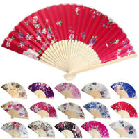 HN- KF_ Bamboo Folding Handheld Flower Floral Print Chinese Traditional Fan Gift