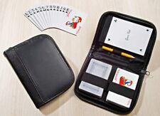 Spielkarten-Set im Kunstleder Etui | Pokerkarten | Romme Skat | Notizblock