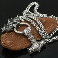 Herren Vintage Silber Norse Viking Wolf & Thor Hammer Mjolnir Anhänger Halskette