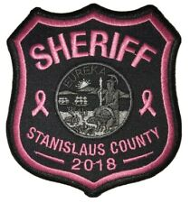 """/""""Sheriff/"""" embroidery patch 4x10 inches hook pink"""