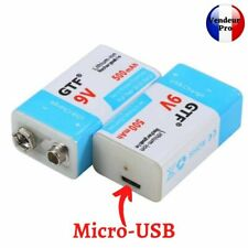 Pile 9V Rechargeable micro USB Batterie 500 mAH ⚡charge rapide⚡ Lithium-ion usb