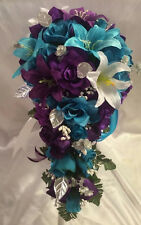 Lily Turquoise Malibu Purple Rose Silk Wedding Bridal Bouquet Cascade 6pc