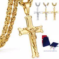 Deluxe Kreuz-Kette Jesus Anhänger Königskette Massiv Edelstahl Halskette Herren