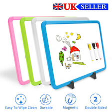 More details for dry erase double-sided magnetic desktop whiteboard with colored frame for kids