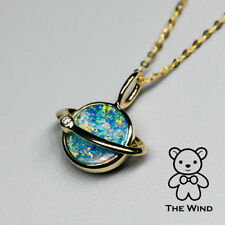Earth Moon Design Australian Opal & Diamond 18K Pendant Necklace and Gold Chain