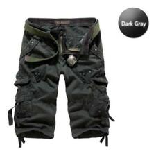 Mens Cotton Summer Army Combat Camo Work Cargo Shorts Pants Trousers 3/4 #42