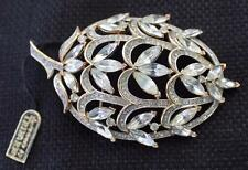 "Vintage 50s Signed w Tag TRIFARI CROWN Goldtone Rhinestones PLUM 3"" Pin Brooch"