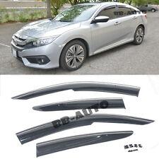 For 16-Up Civic 4Door Mugen Style Window Visor Frame Guard Shield (Chrome Trim)