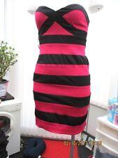 """""""cotton club"""" ladies black/pink striped body con dress size 10"""