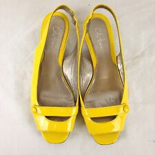 Ladies Cole Haan Yellow Patent Leather Open Toe Slingbacks Kitten Heels 6.5