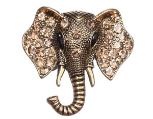 Vintage Style Antique Gold Silver Tone Crystal Elephant BROOCH Pin Gift Broach