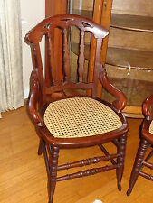 Pair-Victorian Cane-Seated Chairs/New Seats