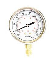 Compound Pressure Vacuum Gauge Glycerine Filled 63mm -1/+10 Bar -30*Hg/+150 PSI