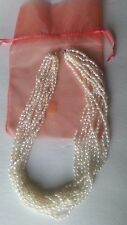 """14k  Gold 10 Multistrand Seed Pearl Necklace Chain 18"""""""