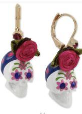 Betsey Johnson Betseyvilla White Sugar Skull Drop Earrings Pink