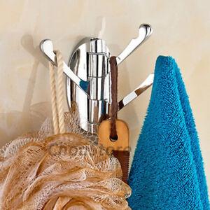 Bathroom Wall Triple Swivel Robe Hook Coat Cloth Hat Towel Hanger Door Mount NEW