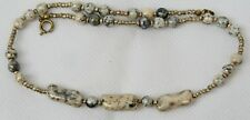 Vintage Polished Agate Bead Necklace with Silver Metal Spacer Bead Inserts 14""