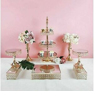 8pcs Cupcake Luxury Elegant Gold Plated Wedding Party Crystal Cake Stand Set