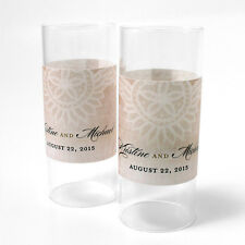 48 Vintage Lace Personalized Mini Tealight Luminaries Candle Wedding Favors
