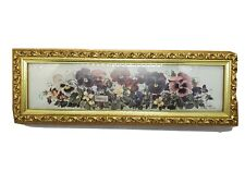 """Vtg Glynda Turley 1995 Framed Matted Signed print """"Pansy Patch 4x11 1/4"""""""