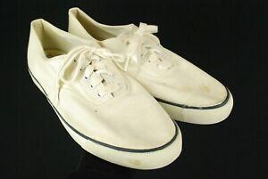 Vintage 70s Norsport White Cotton Canvas Tennis Shoes Boat Mens 10 W