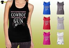 Southern Cowgirl Graphic Shirt Country Cowboy Gun Ladies Tank Top (18338)