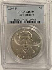 2009-P LOUIS BRAILLE Commemorative Silver Dollar PCGS MS-70