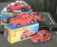 VW BEETLE MATCHBOX 1:60  ORIGINALE 1971 : 1 DRAGSTER HOT ROAD + 1 KAFER 1500