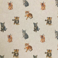 Linen Kittens and Cats Curtain Craft Cushion Quilting Designer Linen Look Fabric