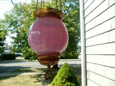 Antique*Rare* Victorian Cranberry Opalescent Hanging Hall Lamp Light