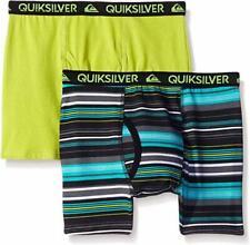 Quiksilver Boys Lime & Stripe Print 2pk Boxer Briefs Size 4/5 6/7 $18
